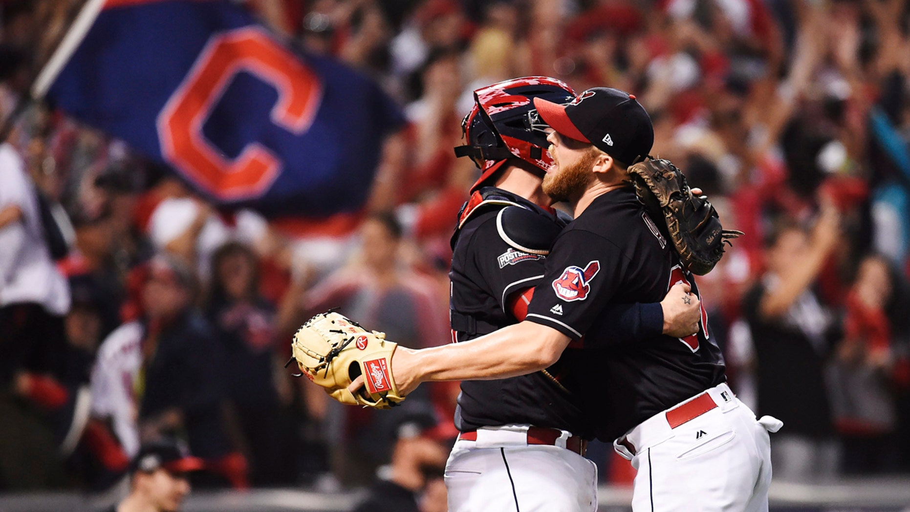 Oct. 15, 2016: Cleveland Indians relief pitcher Cody Allen, right, and catcher Roberto Perez celebrate their 2-1 win against the Toronto Blue Jays in Game 2 of baseball's American League Championship Series in Cleveland.