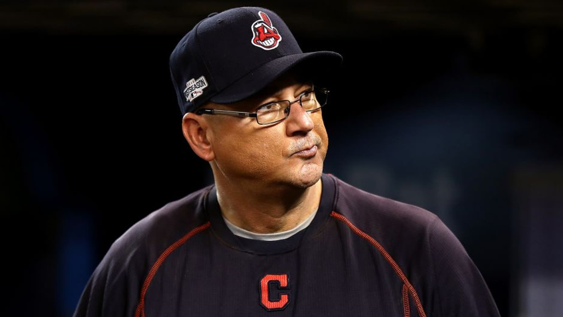 TORONTO, ON - OCTOBER 17: Terry Francona #17 of the Cleveland Indians looks on prior to game three of the American League Championship Series against the Toronto Blue Jays at Rogers Centre on October 17, 2016 in Toronto, Canada. (Photo by Elsa/Getty Images)