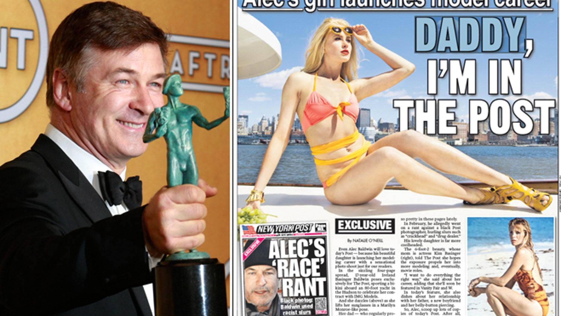"""Alec Baldwin holds his award for outstanding performance by a male actor in a comedy series for his role in """"30 Rock"""" in January 2013; Ireland Baldwin poses in a photo shoot for The New York Post in April 2013."""
