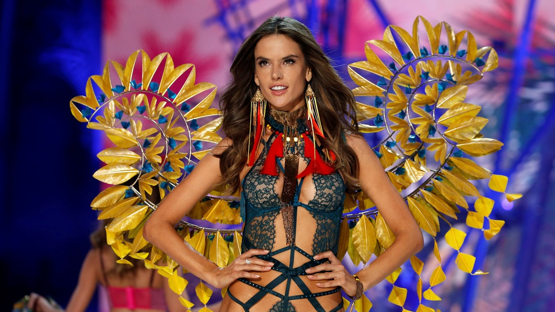 1282196cba Alessandra Ambrosio presents a creation during the 2016 Victoria s Secret  Fashion Show at the Grand Palais