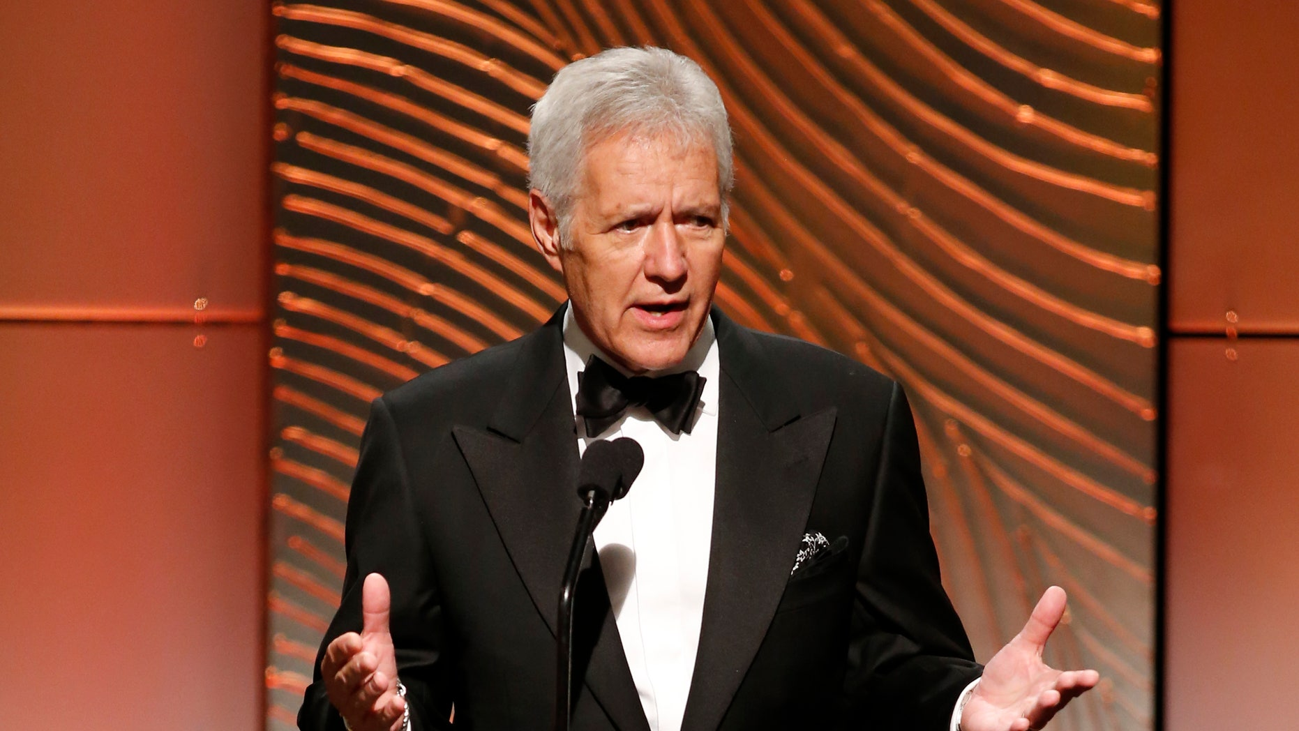 June 16, 2013. Alex Trebek speaks on stage during the 40th annual Daytime Emmy Awards in Beverly Hills, California.