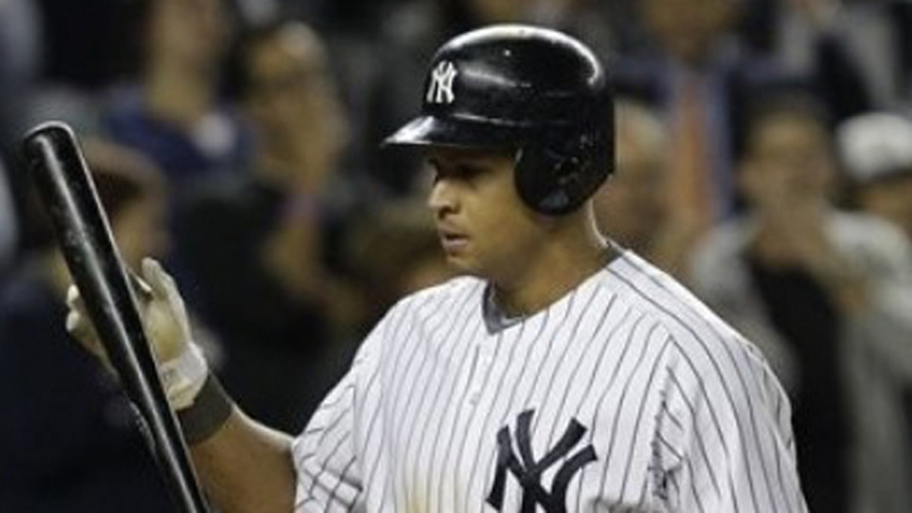Oct. 6, 2011: New York Yankees' Alex Rodriguez reacts after striking out against the Detroit Tigers in the seventh inning in Game 5 of baseball's American League division series