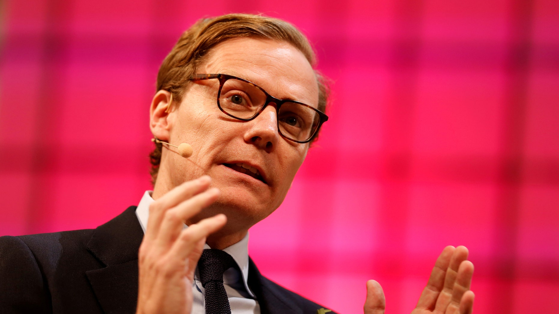 FILE PHOTO: CEO of Cambridge Analytica, Alexander Nix, speaks during the Web Summit, Europe's biggest tech conference, in Lisbon, Portugal, November 9, 2017. (REUTERS/Pedro Nunes/File Photo)