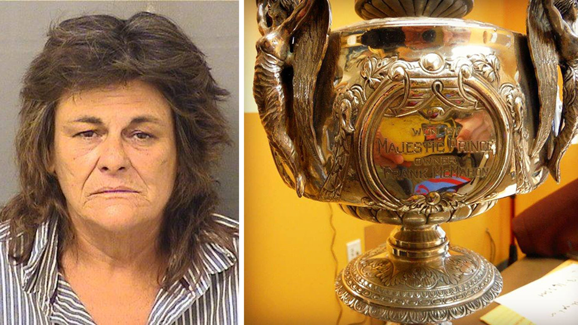 Alicia Murphy is charged with breaking into storage units and stealing hundreds of items, including the 1969 Preakness Stakes trophy.