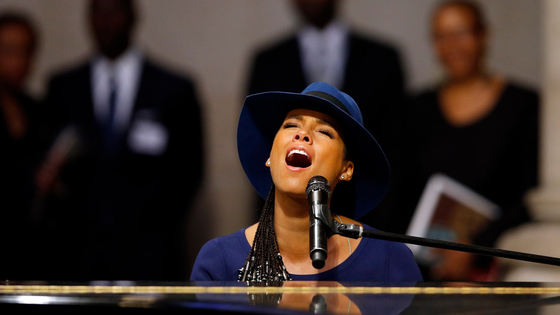 september 20, 2014. Singer Alicia Keys performs during a memorial service for actress Ruby Dee at The Riverside Church in New York.
