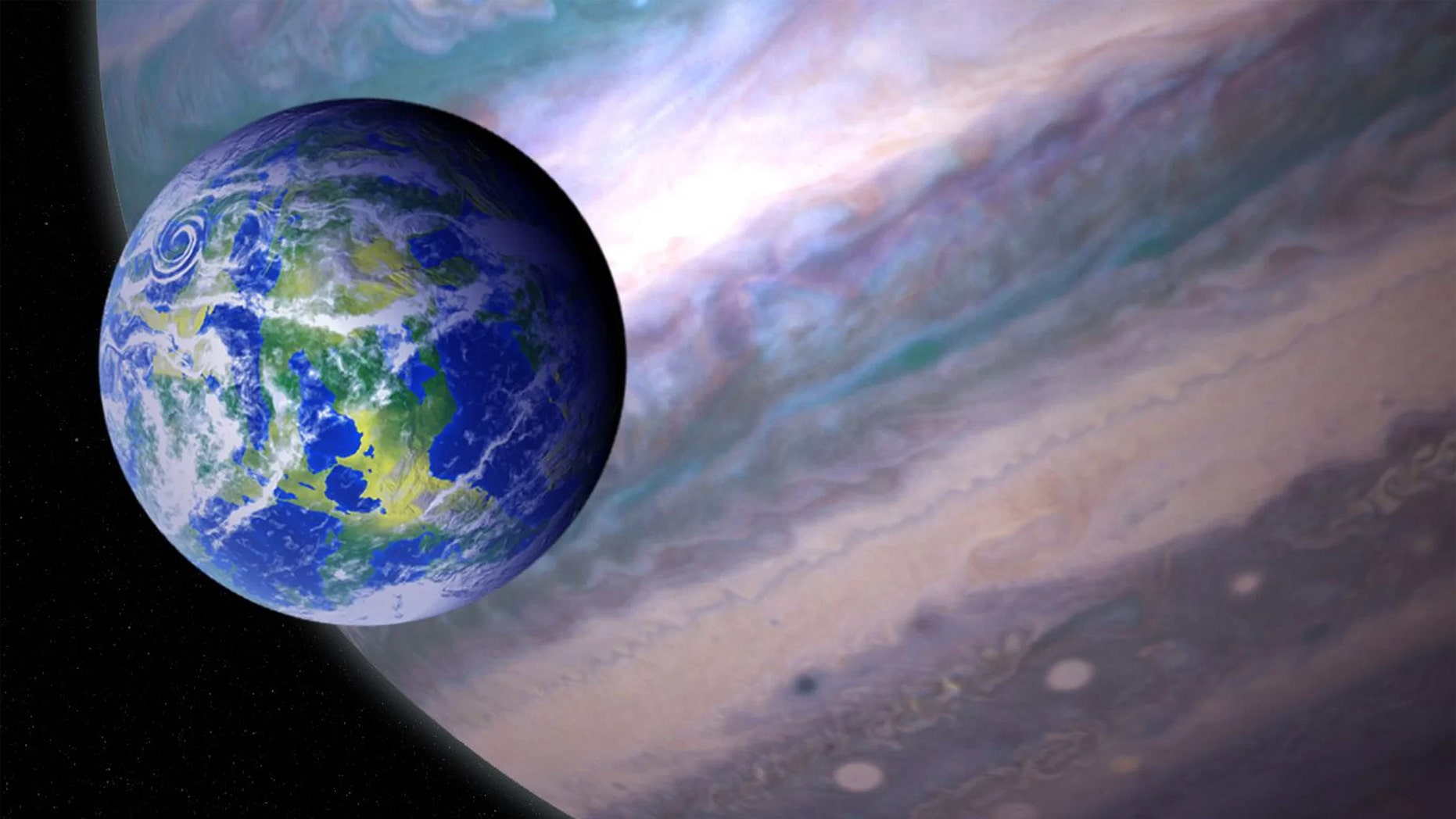 An artist's illustration of a habitable exomoon orbiting a giant exoplanet. Credit: Jay Friedlander/Britt Griswold/NASA/GSFC