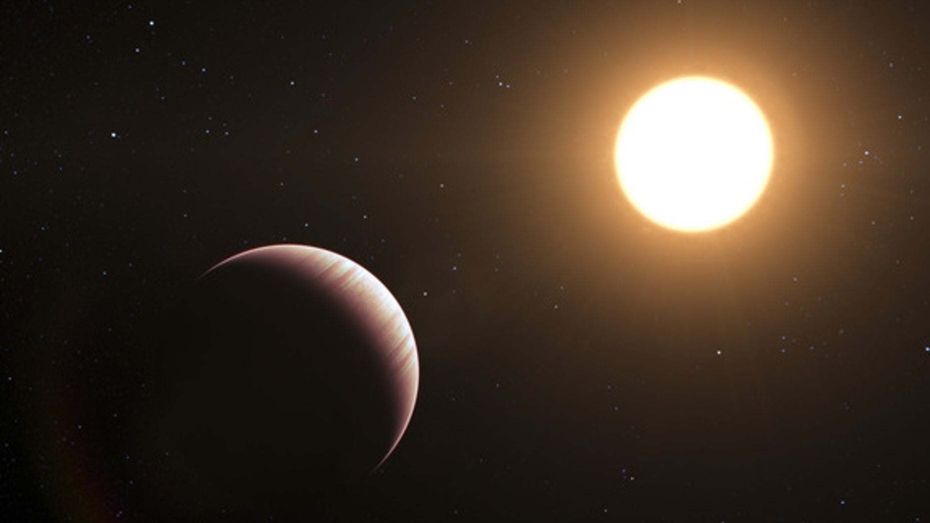 This artist's impression shows the exoplanet Tau Boötis b. This was one of the first exoplanets to be discovered back in 1996, and it is still one of the closest planetary systems known to date. Astronomers using ESO's Very Large Telescope have now caught and studied the faint light from the planet Tau Boötis b for the first time. By employing a clever observational trick the team find that the planet's atmosphere seems to be cooler higher up, the opposite of what was expected.
