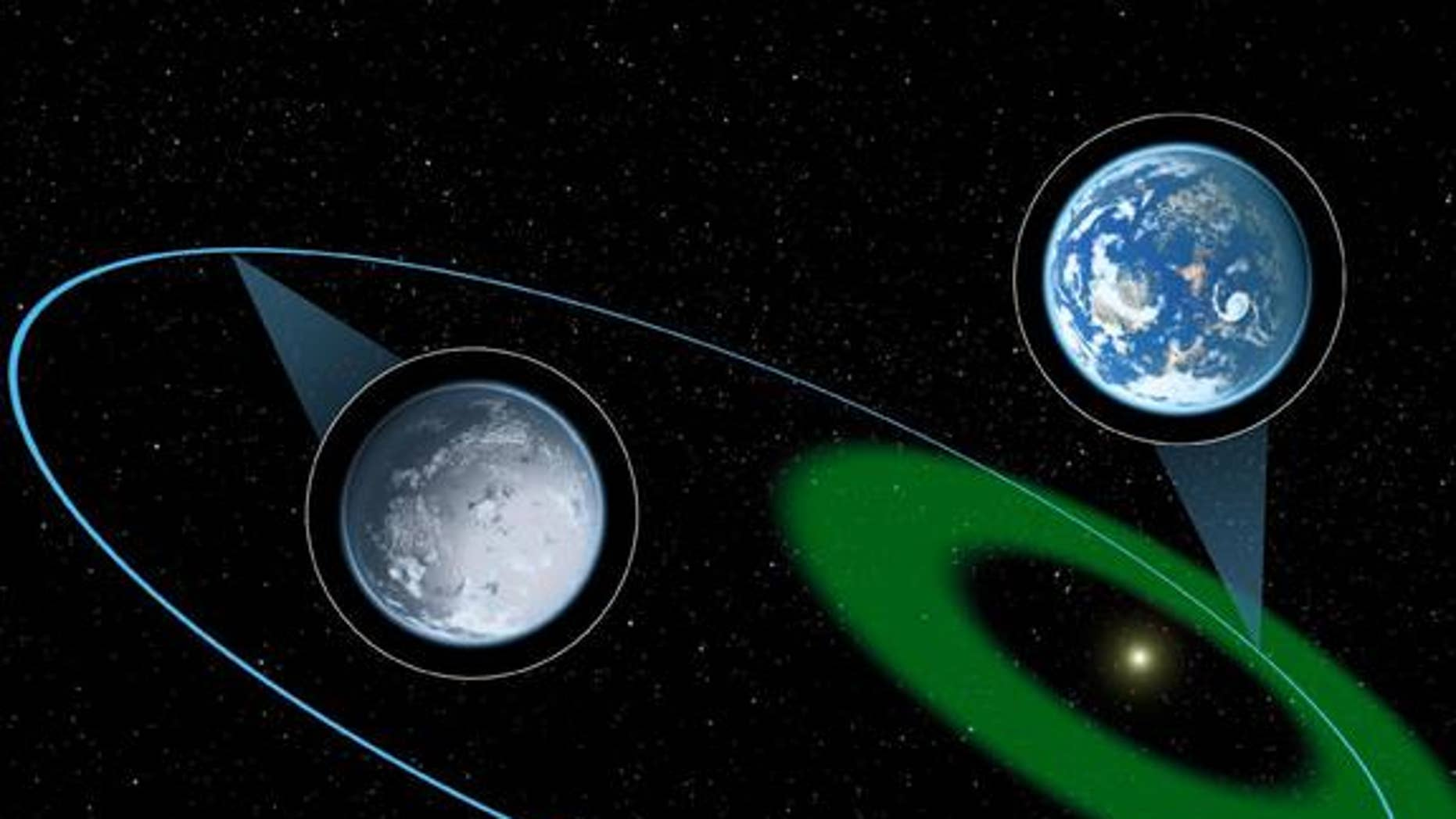 A hypothetical exoplanet is depicted here moving through its star's habitable zone and then further out into a long, cold winter.