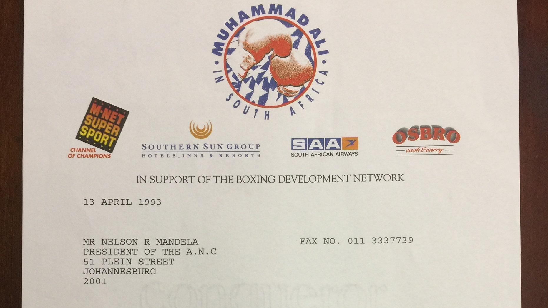 The letter from Muhammad Ali to Nelson Mandela (Henry Aldridge & Son).