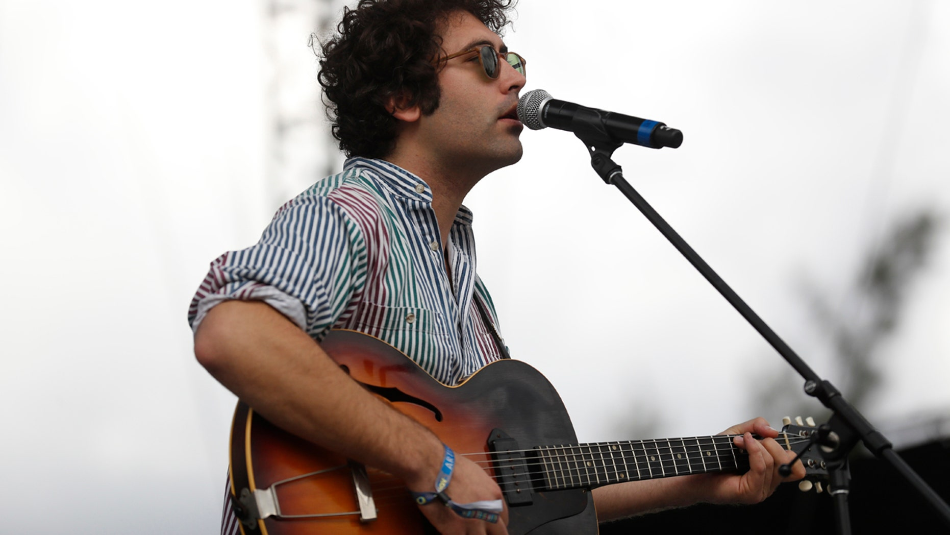 Miles Michaud, lead singer of the California band Allah-Las, performs during the second and last day of the Corona Capital Music Festival in Mexico City in November 2016.