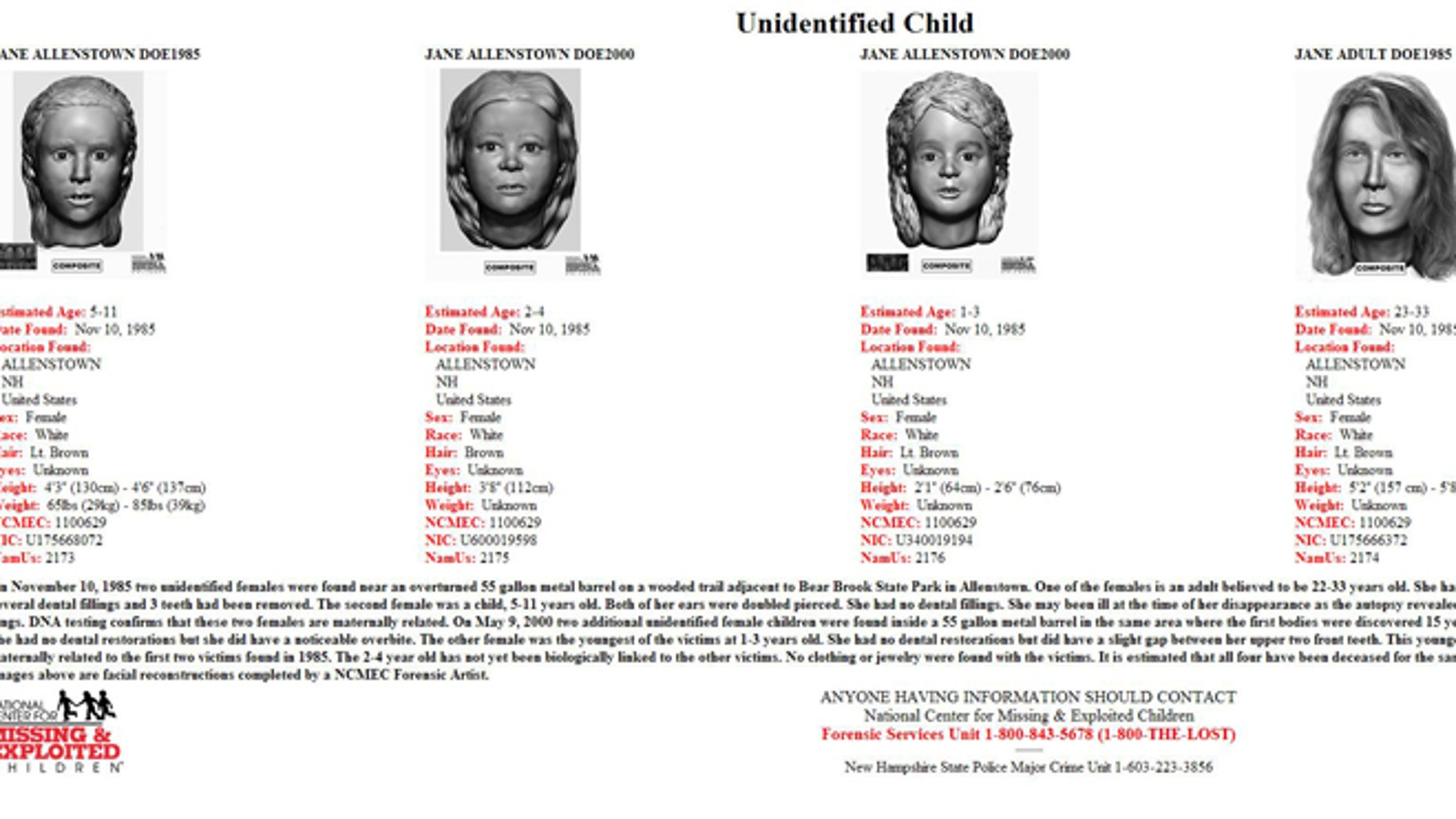 A poster with new images of the four victims found in Allentown, N.H. in 1985 and 2000.