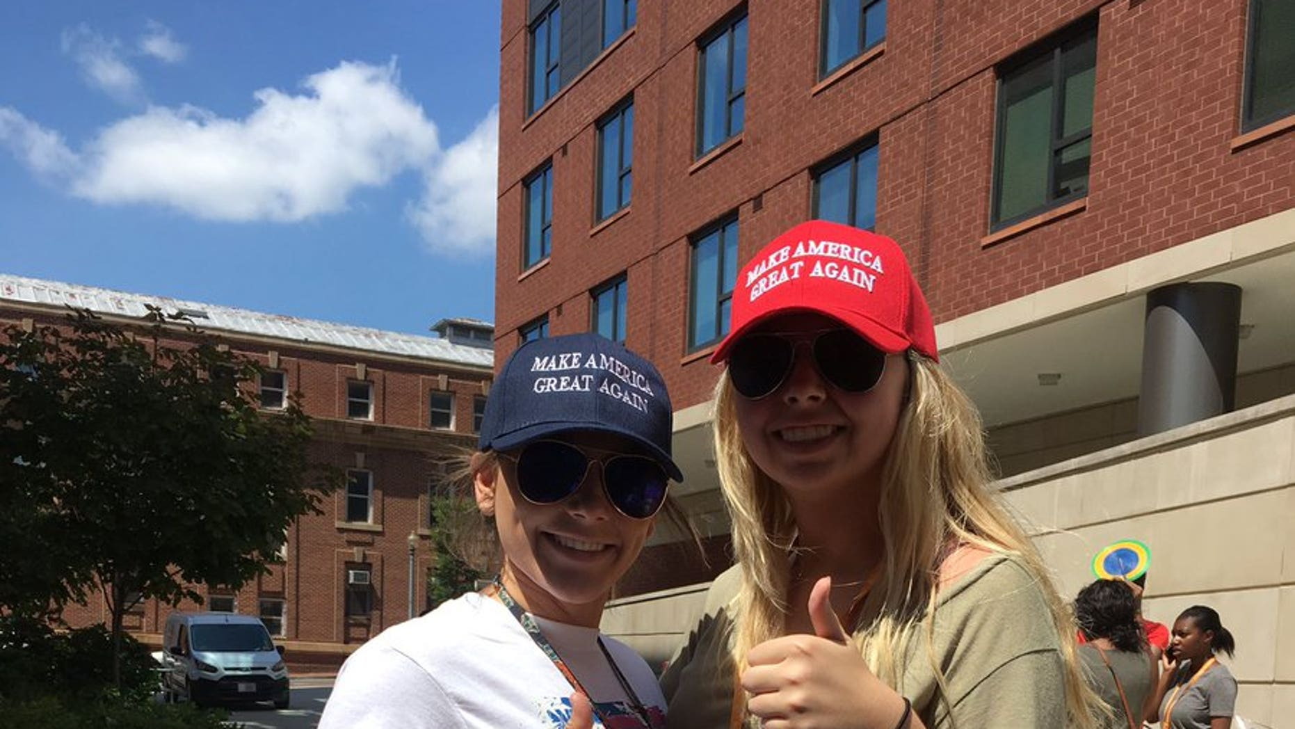 Pennsylvania high school student Allie Vandee, left, says she was harassed for wearing MAGA gear during a recent visit to Howard University.