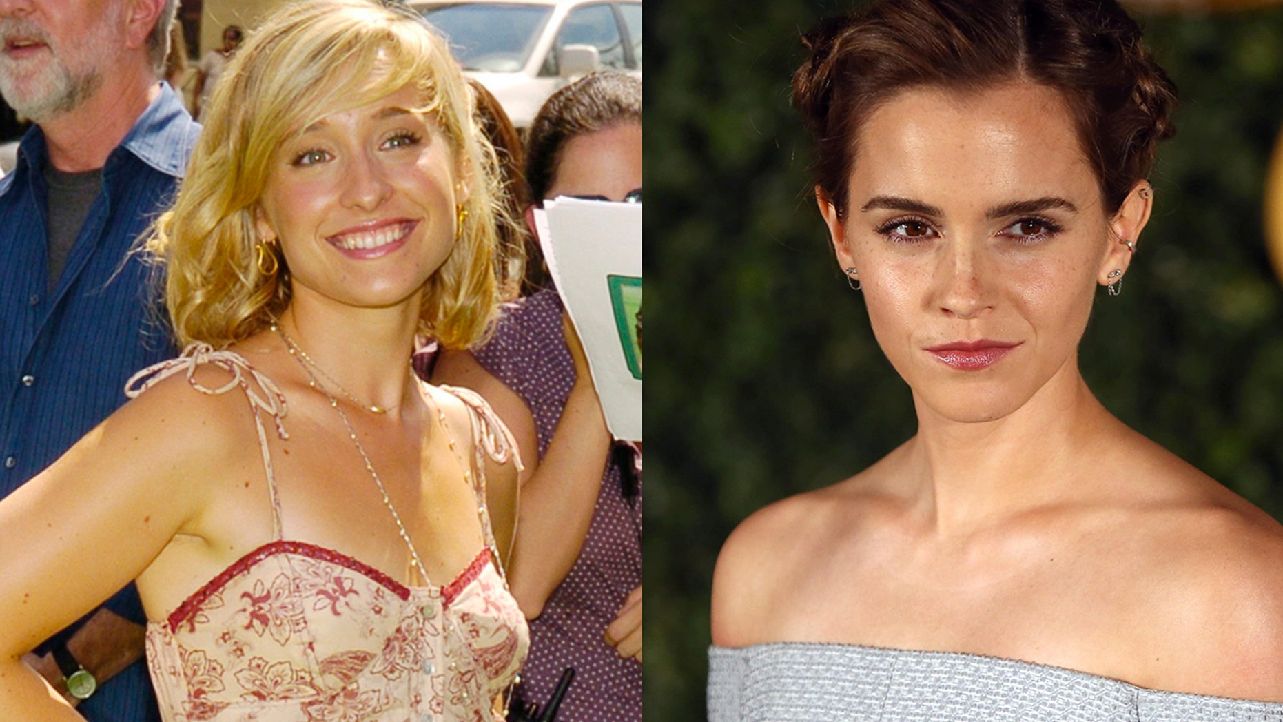 """Allison Mack, left, has been accused of recruiting women to be involved in an alleged sex cult. She seemingly tried to get """"Harry Potter"""" star Emma Watson involved with the controversial organization."""