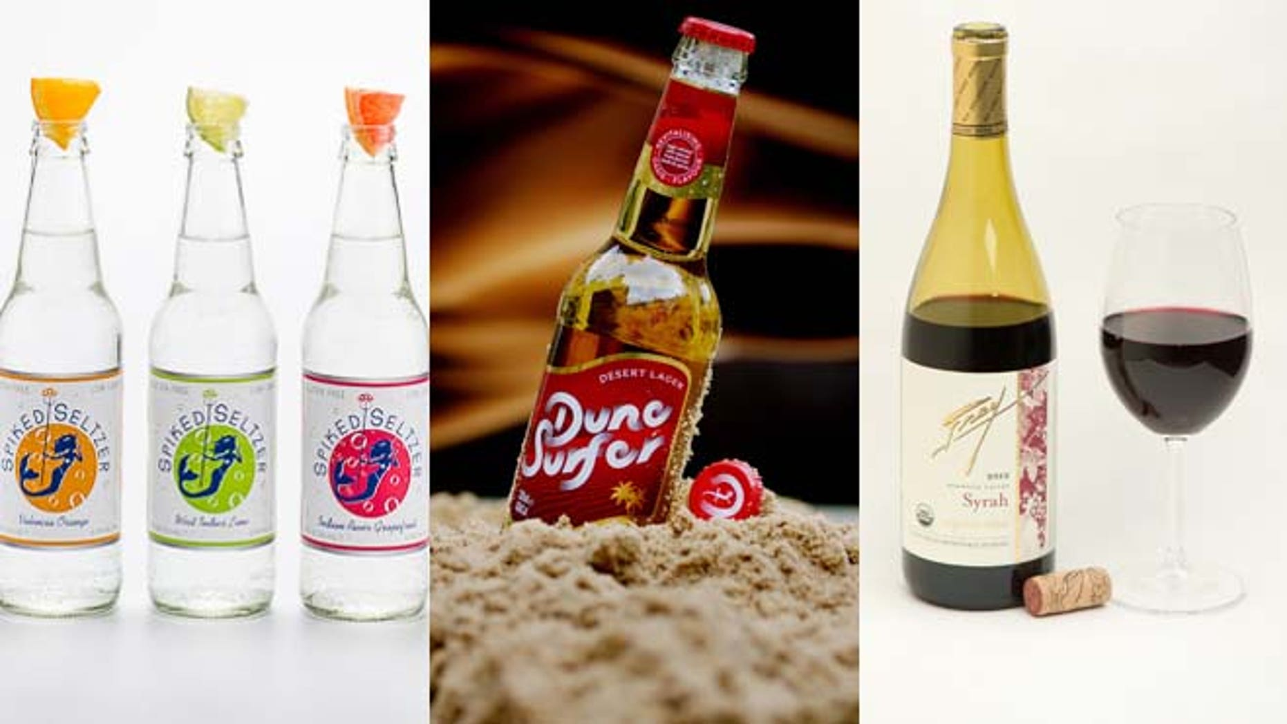 """Spiked Seltzer (left) offers customers looking for a """"healthier"""" buzz;  DuneSurfer Desert Beer (center) has a 2 percent ABV and 60 calories; Frey Vineyards (right) launched the nation's first organic wine."""