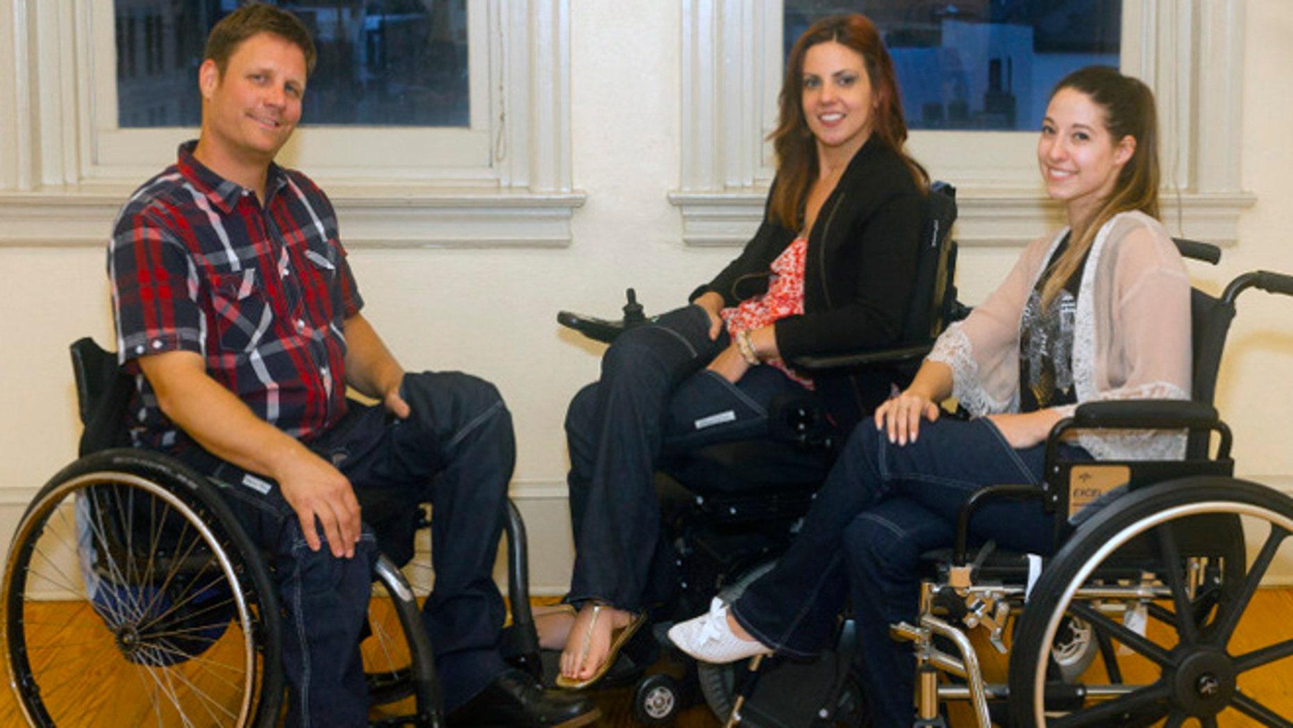 "Heidi McKenzie, center, created a pair of practical, wheelchair-friendly jeans under the label ""Alter Ur Ego."""