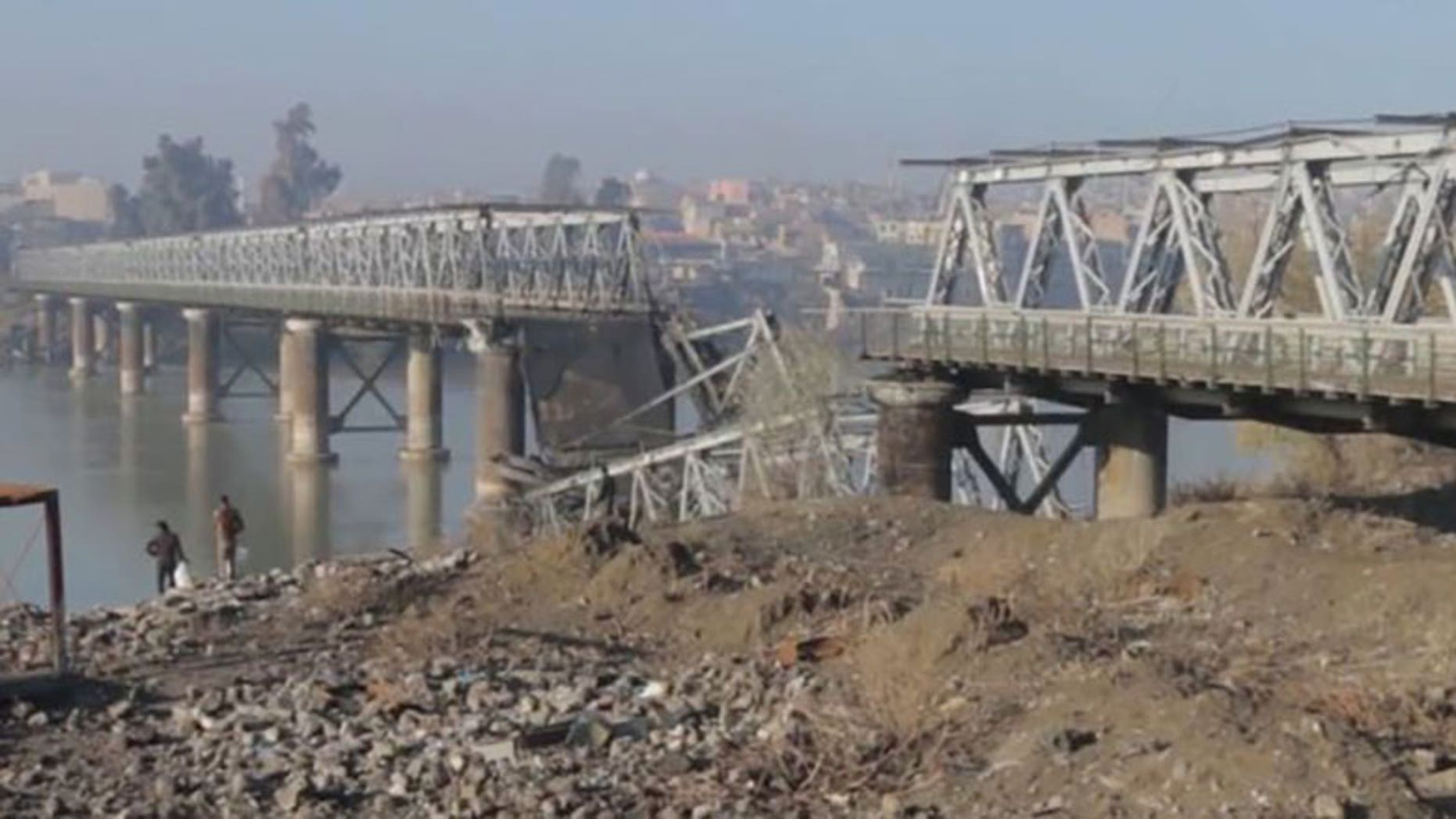 Images from the terror network's media agency show what remains of the Old Bridge.
