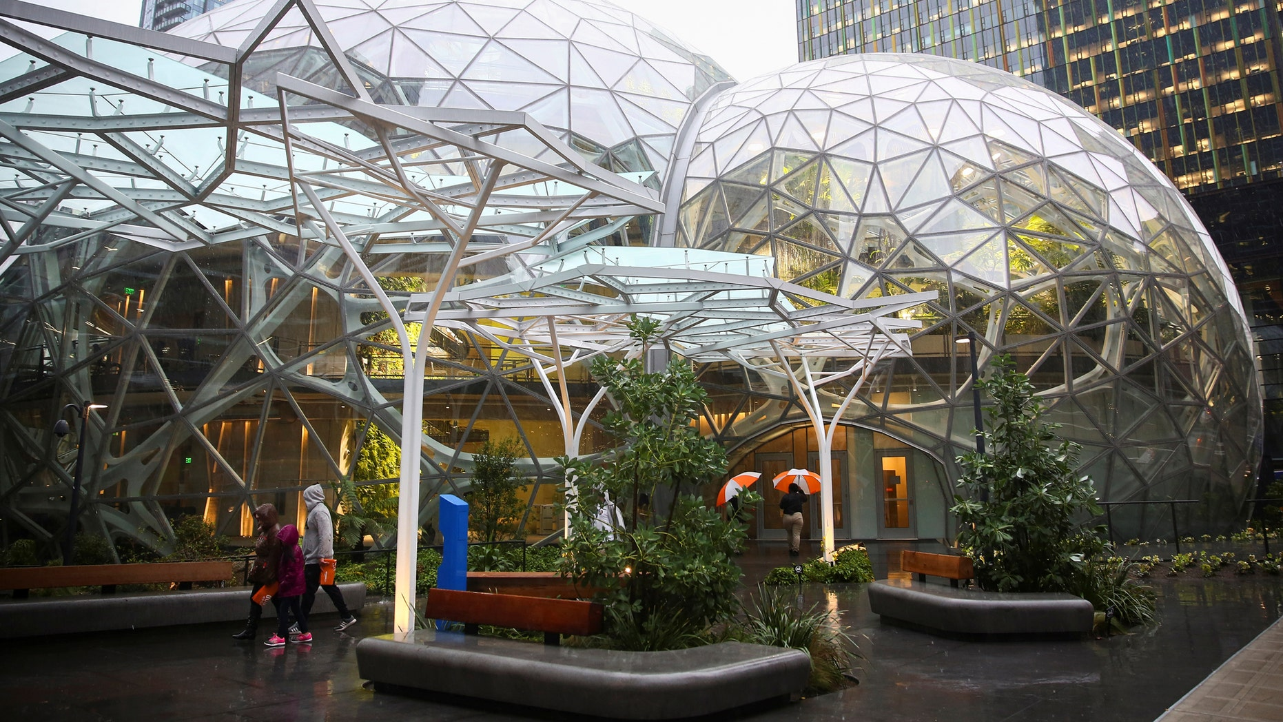 People walk by the main entrance of the Amazon Spheres at Amazon's Seattle headquarters in Seattle, Washington, U.S., January 29, 2018. REUTERS/Lindsey Wasson