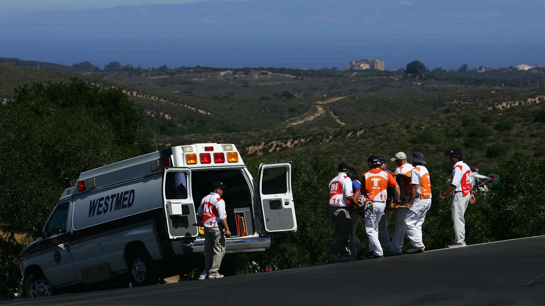 MONTEREY, CA - JULY 20:  Alex Hoffman of Germany riding the #66 Pramac D'Antin Ducati gets put into an ambulance after getting injured in a crash during practice for the 2007 Red Bull U.S. Grand Prix, part of the MotoGP World Championships, at the Mazda Raceway Laguna Seca on July 20, 2007 in Monterey, California.  (Photo by Robert Laberge/Getty Images)
