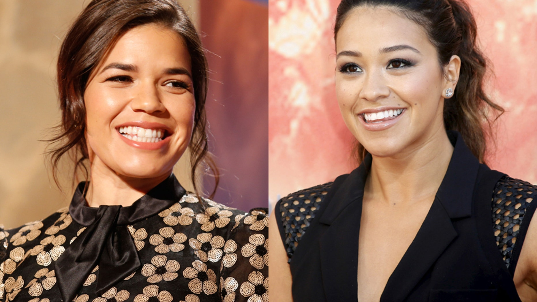 Actress America Ferrera (left) sits on stage during nominations for the 73rd annual Golden Globe Awards in Beverly Hills, California December 10, 2015. Actress Gina Rodriquez on the right.