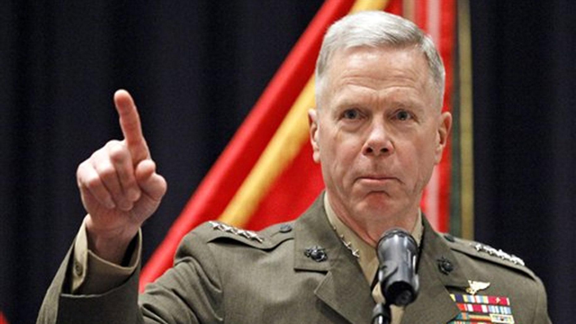 Dec. 1, 2010: Marine Corps Commandant Gen. James Amos speaks at the Marine Corps Barracks in Washington.