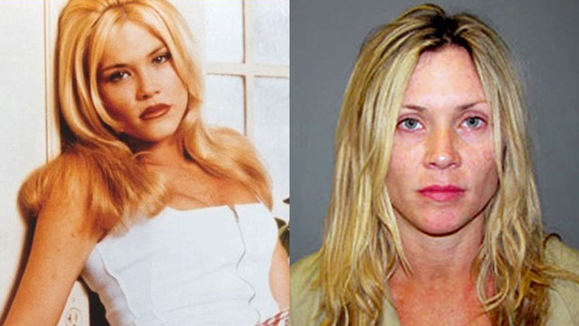 "Amy Locane-Bovenizer on ""Melrose Place' and in her booking photo. (FOX/AP)"