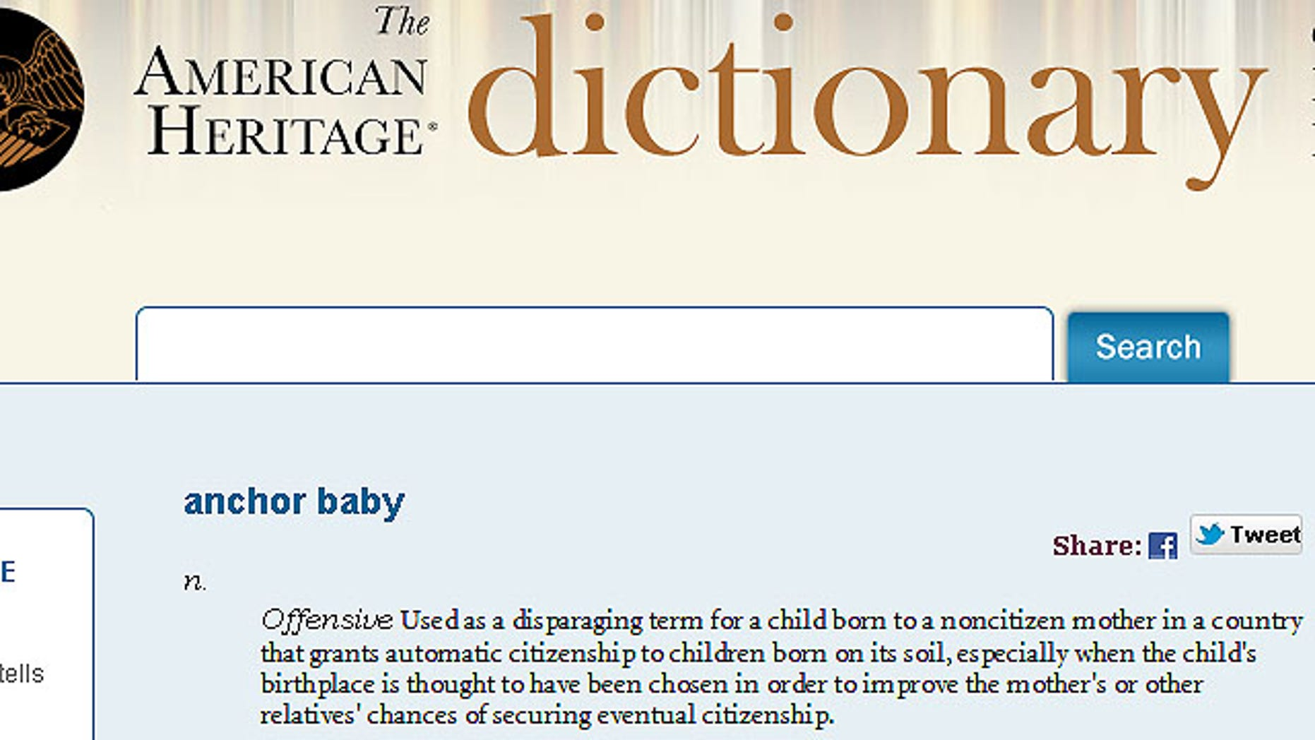 "The term ""anchor baby"" was among roughly 10,000 words -- including ""hoodie"" and ""babydaddy"" -- added to the dictionary's fifth edition last month."