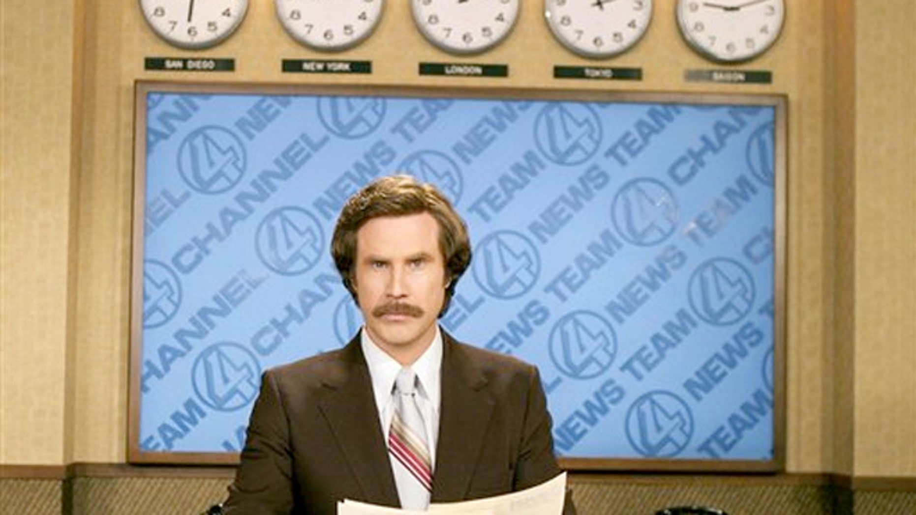 "Will Ferrell portrayz anchorman Ron Burgundy in ""Anchorman: The Legend of Ron Burgundy""."