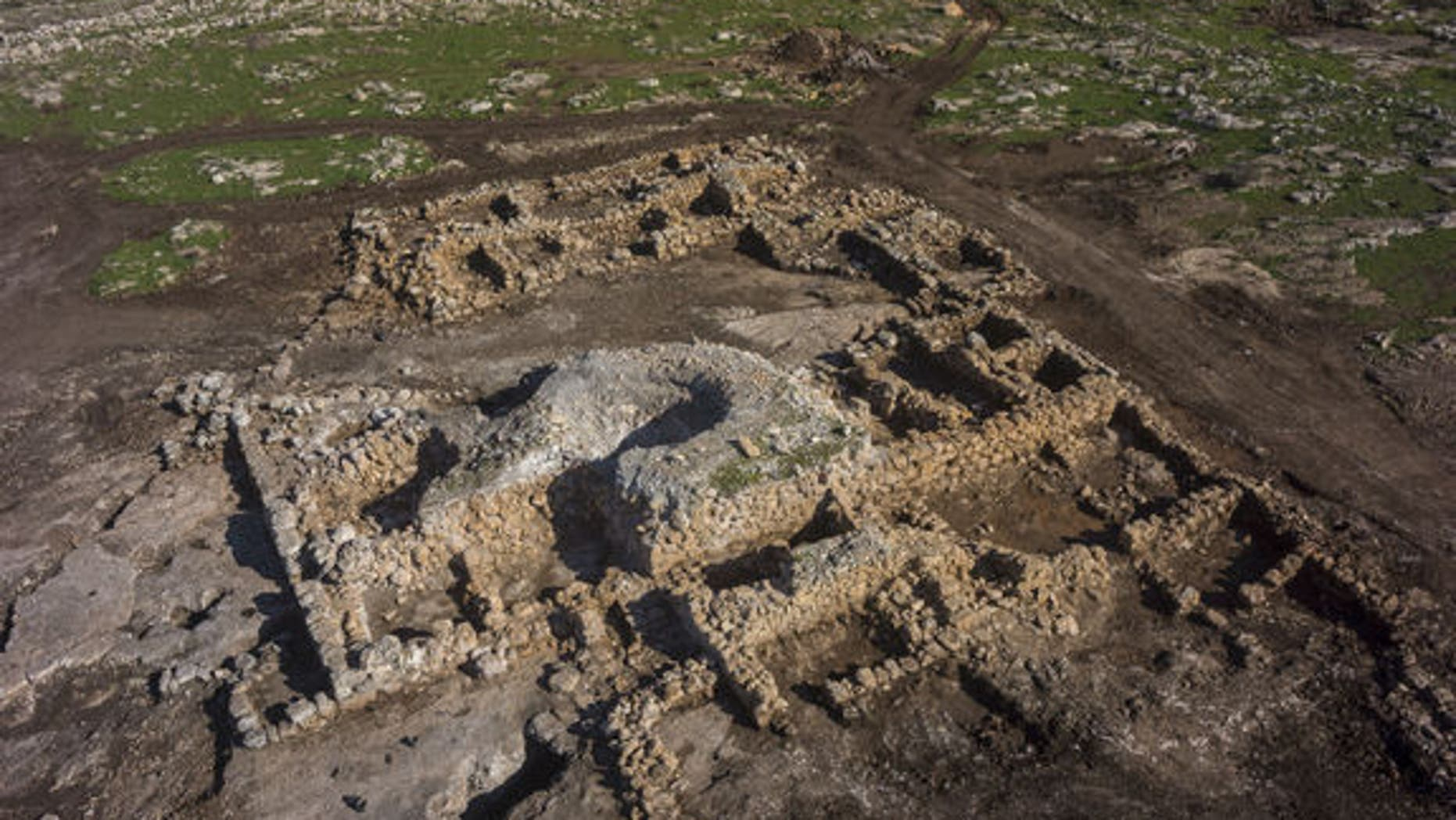 Aerial view of a 2,700-year-old farmstead with 24 rooms near Rosh Ha'ayin, Israel.