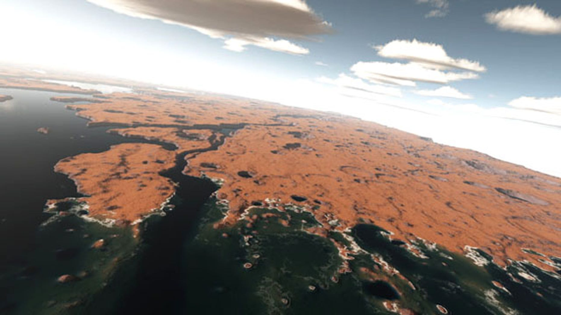 Mars may have been covered with a vast ocean about 3 billion years ago, as shown in this artist's rendition based on actual topography of Mars from NASA Mars Orbiter Laser Altimeter.