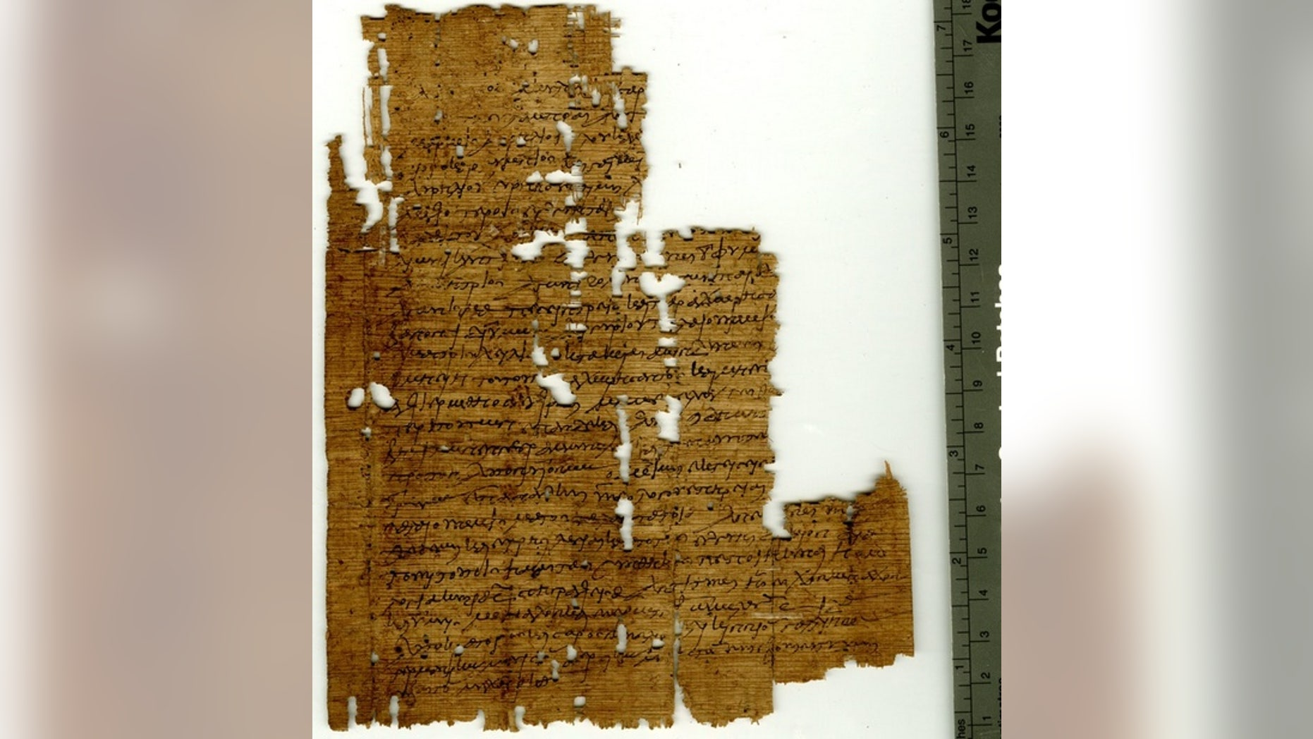 Researchers have deciphered a contract, pictured here, that was written in A.D. 267 between the guarantors of two wrestlers named Nicantinous and Demetrius. In it the father of Nicantinous pledges to pay Demetrius 3,800 drachma if he allows Nic