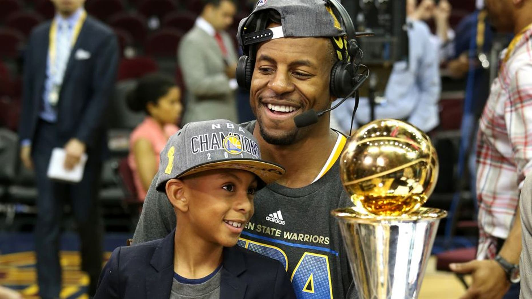 CLEVELAND, OH - JUNE 16: Andre Iguodala #9 of the Golden State Warriors appears on NBA TV after winning Game Six of the 2015 NBA Finals against the Cleveland Cavaliers on June 16, 2015 at Quicken Loans Arena in Cleveland. Ohio. NOTE TO USER: User expressly acknowledges and agrees that, by downloading and or using this Photograph, user is consenting to the terms and conditions of the Getty Images License Agreement. Mandatory Copyright Notice: Copyright 2015 NBAE (Photo by Gary Dineen/NBAE via Getty Images)