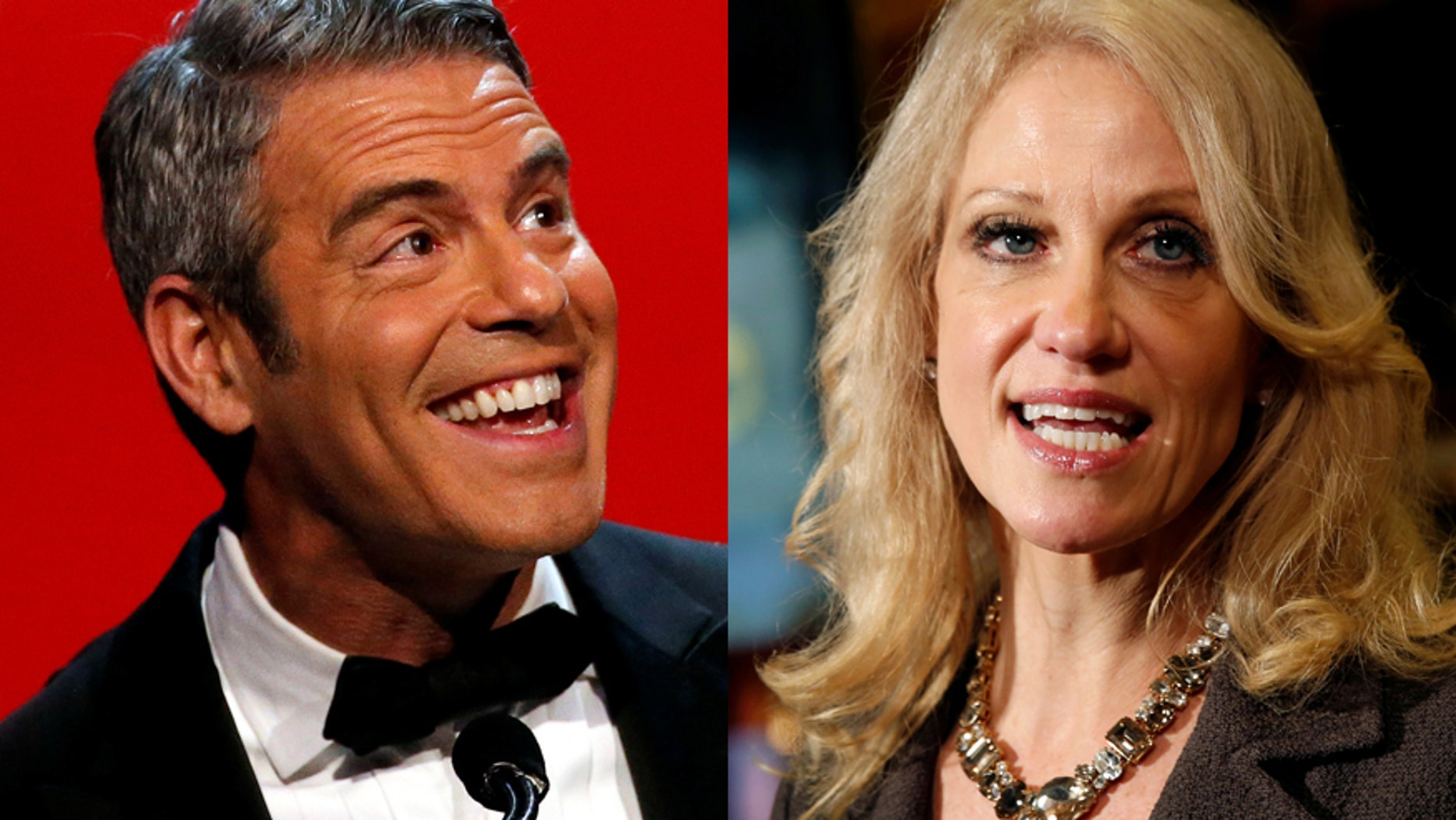 Bravo's Andy Cohen (left) and Kellyanne Conway.