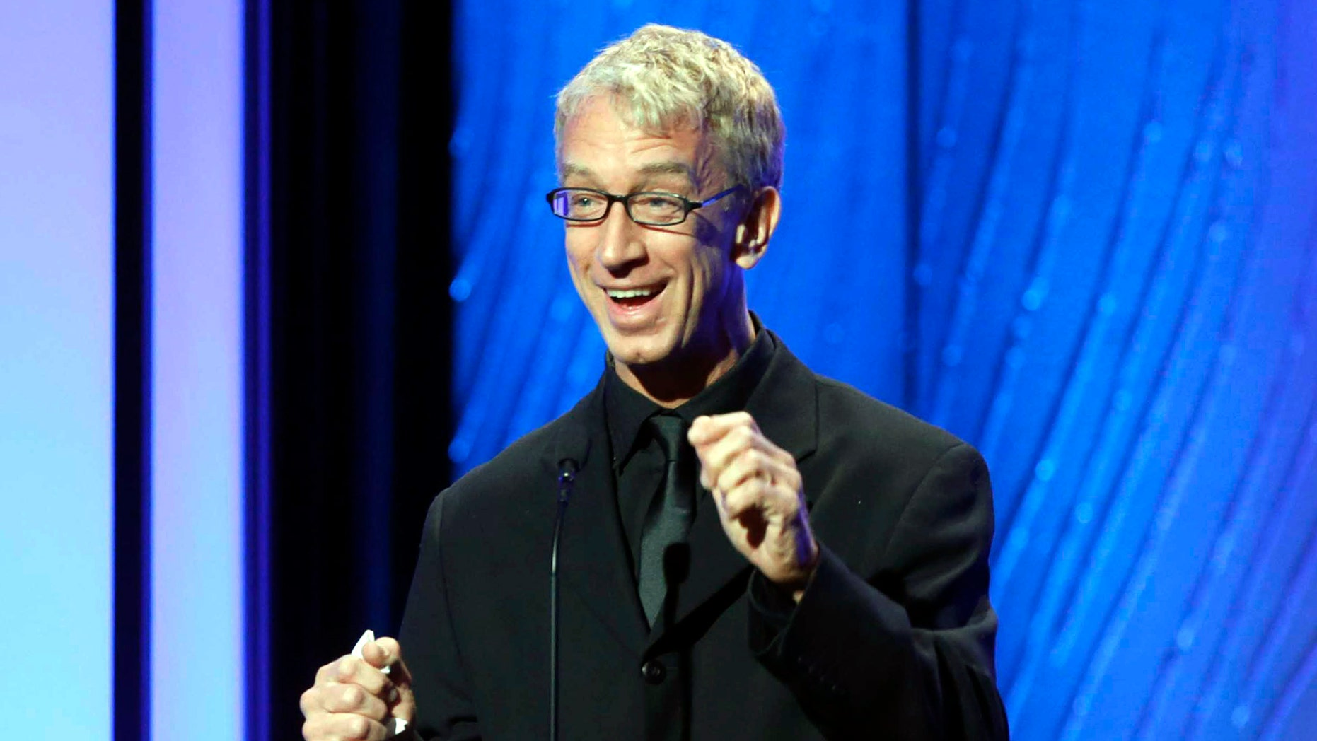 Nov. 15, 2012. Andy Dick speaks onstage during the American Cinematheque 26th Annual Award Presentation to Ben Stiller 2012 in Beverly Hills, Calif.