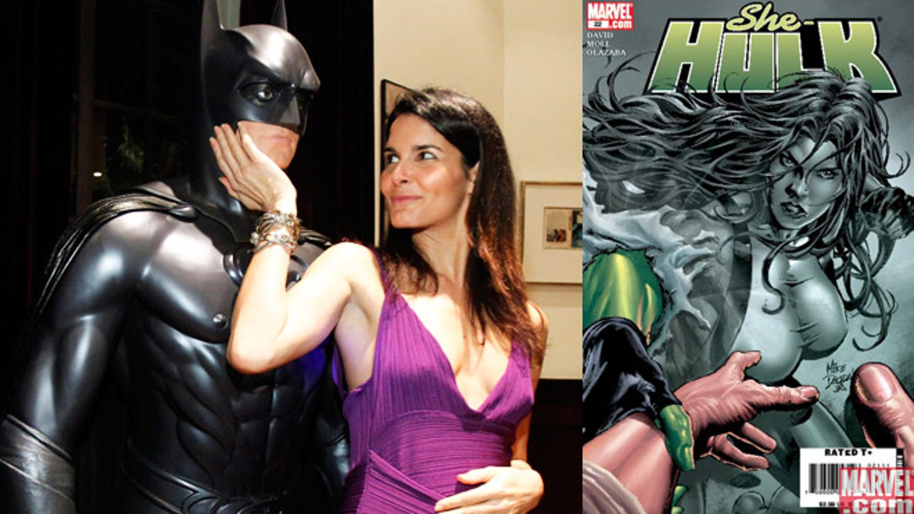 Angie Harmon poses with a Batman figure at the 3rd annual Women In Film, LA Pre-Oscar party in 2010. A hint at her She-Hulk leanings?