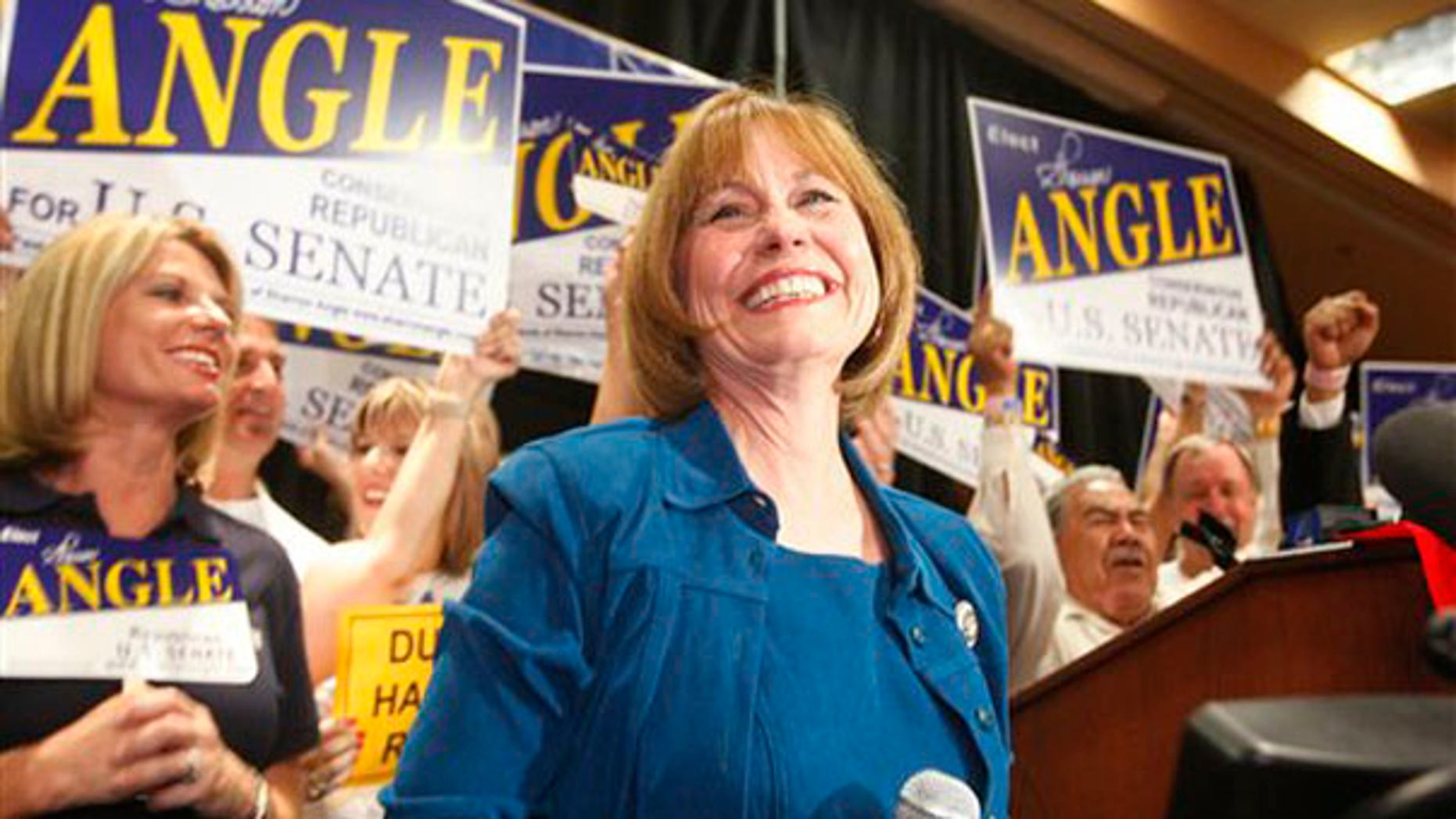 Sharron Angle speaks to supporters after winning the Nevada Republican Senate primary June 8 in Las Vegas. (AP Photo)