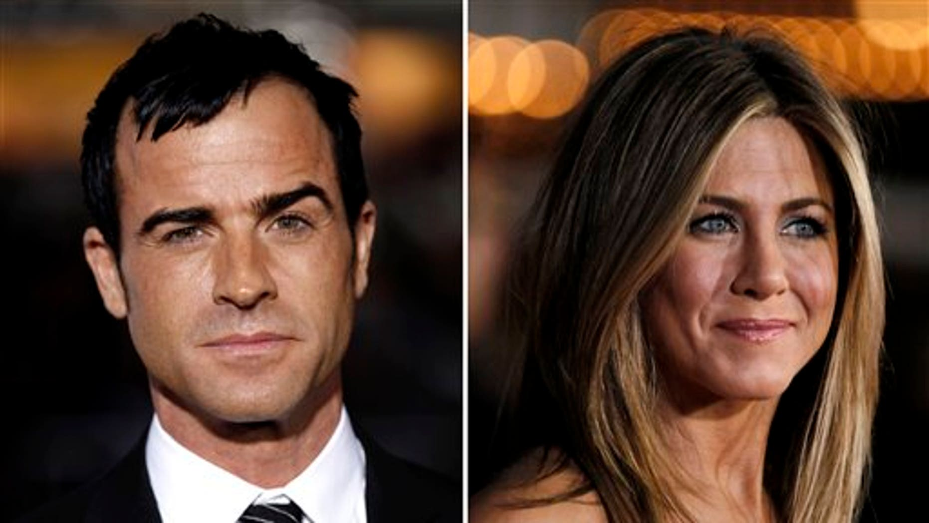 This combo made from Feb. 16, 2012 file photos shows Justin Theroux, left, and Jennifer Aniston. Aniston's rep, Stephen Huvane, on Sunday, Aug. 12, 2012 confirmed to The Associated Press that Theroux and the actress are engaged. It was first reported by People.com. (AP Photo/Matt Sayles, File)