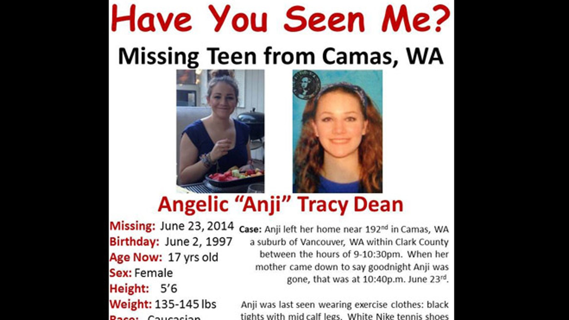 A missing persons poster for Anji Dean.