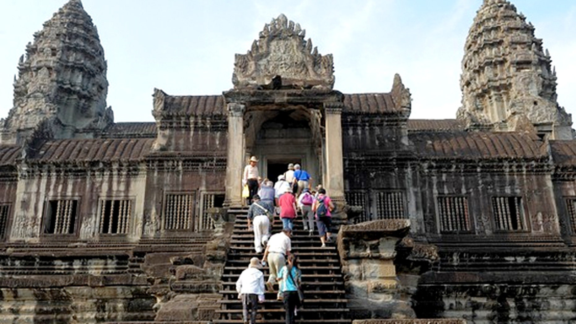Tourists at the Angkor Wat temples in Cambodia.