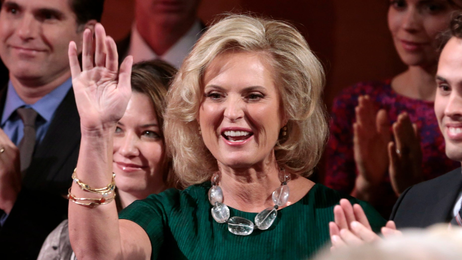 Republican presidential nominee Mitt Romney's wife Ann waves to the crowd before the start of the final U.S. presidential debate in Boca Raton, Florida, October 22, 2012. REUTERS/Scott Audette (UNITED STATES  - Tags: ELECTIONS POLITICS USA PRESIDENTIAL ELECTION)   - RTR39G6I