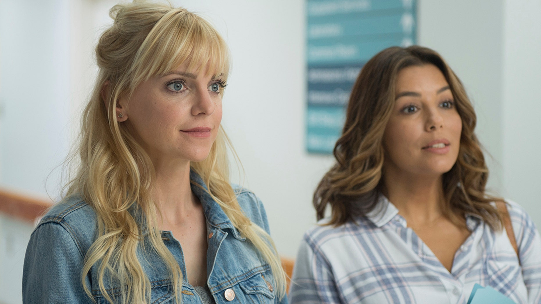 """This image released by Metro Goldwyn Mayer Pictures/Pantelion Films shows Anna Faris, left, and Eva Longoria in a scene from """"Overboard."""""""