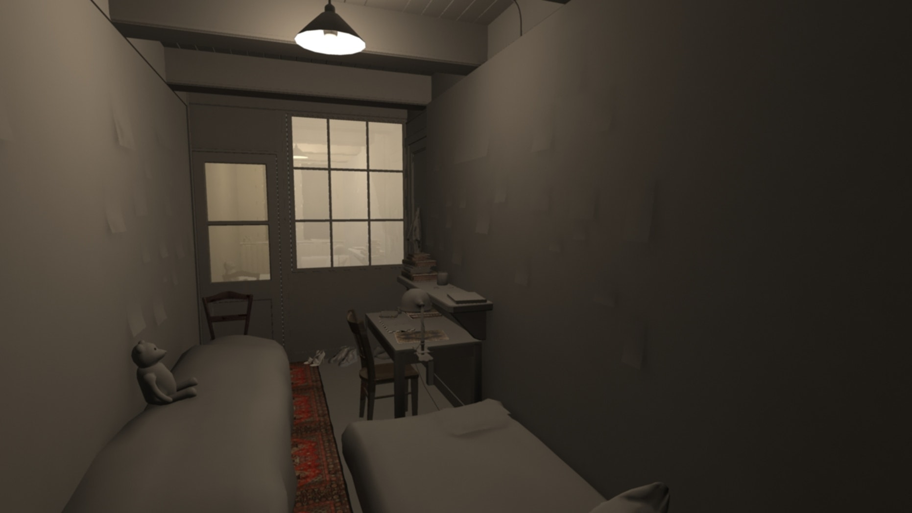 An early design render of Anne Frank's room. (CGO Studios)