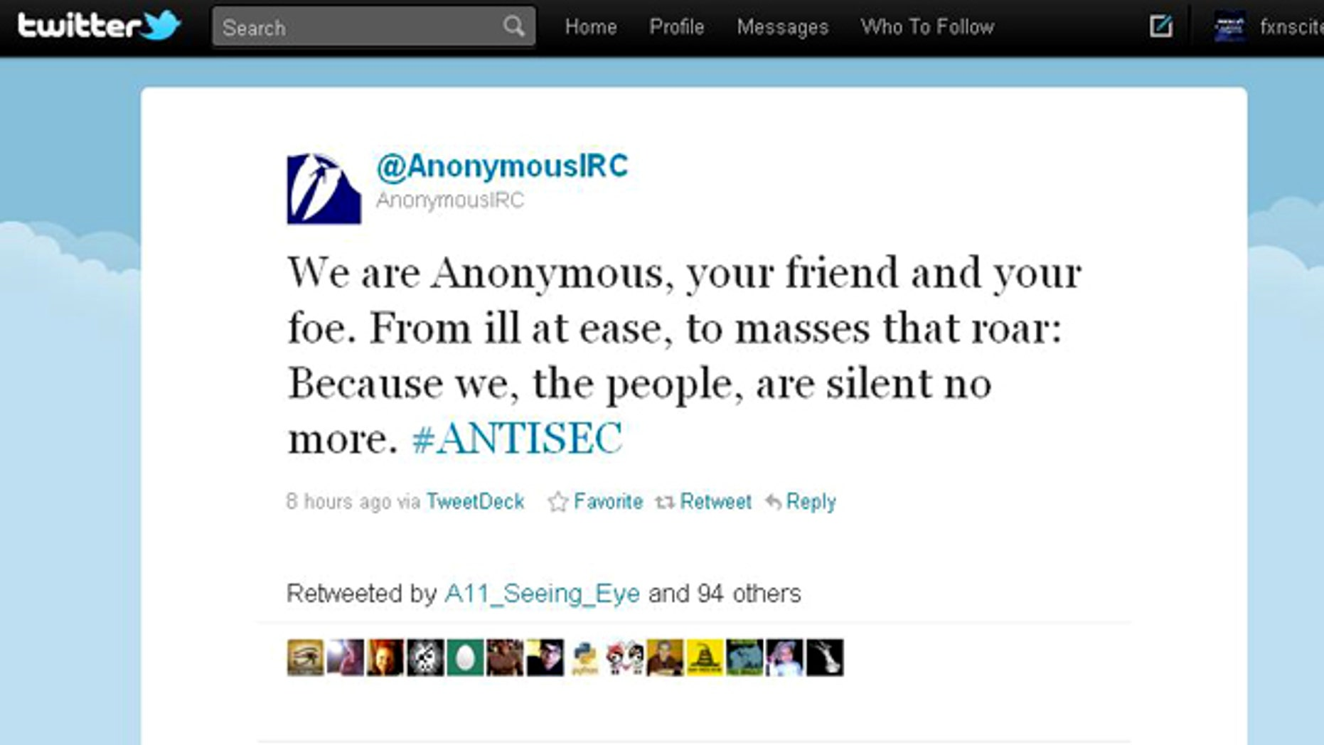 A screenshot of the @AnonymousIRC Twitter feed, one of many associated with the anonymous hacker group responsible for hacking and defacing numerous sites in recent weeks.