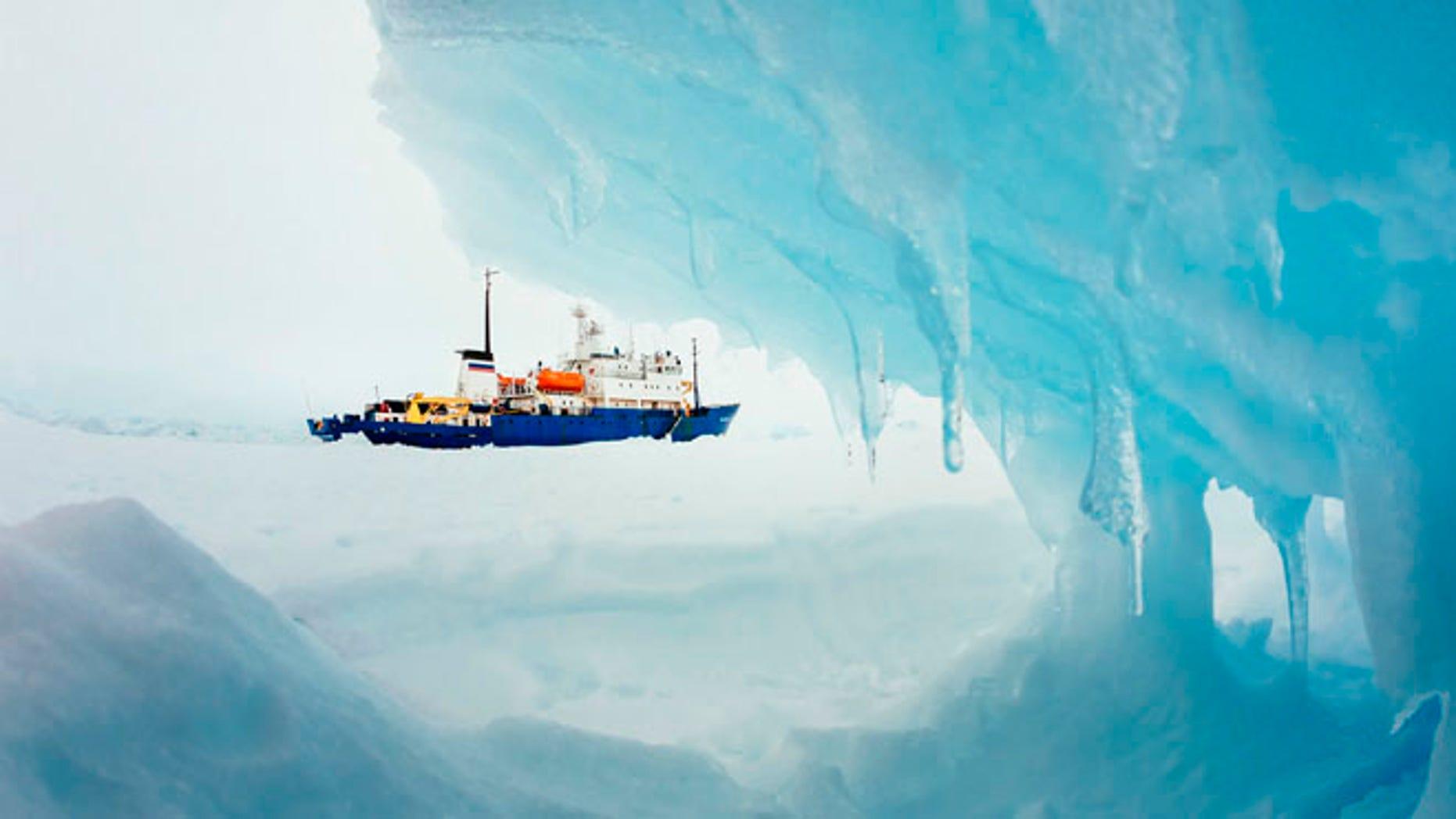 Dec. 29, 2013: The MV Akademik Shokalskiy is pictured stranded in ice in Antarctica.