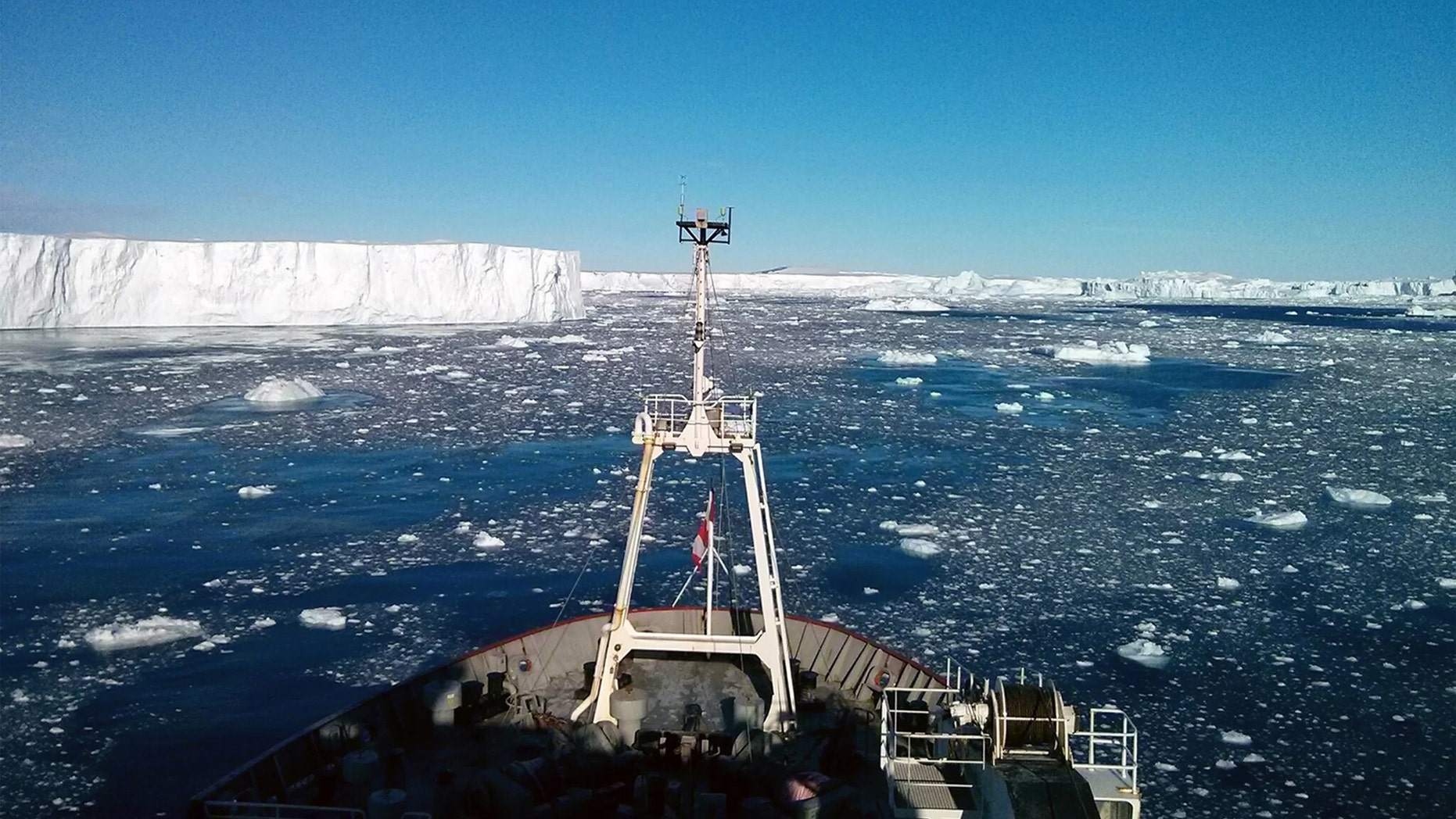 View from the bow of the icebreaker the RRS James Clark Ross on a 2014 scientific expedition, during which University of Rhode Island researcher and five other scientists discovered an active volcanic heat source beneath the Pine Island Glacier in Antarctica.