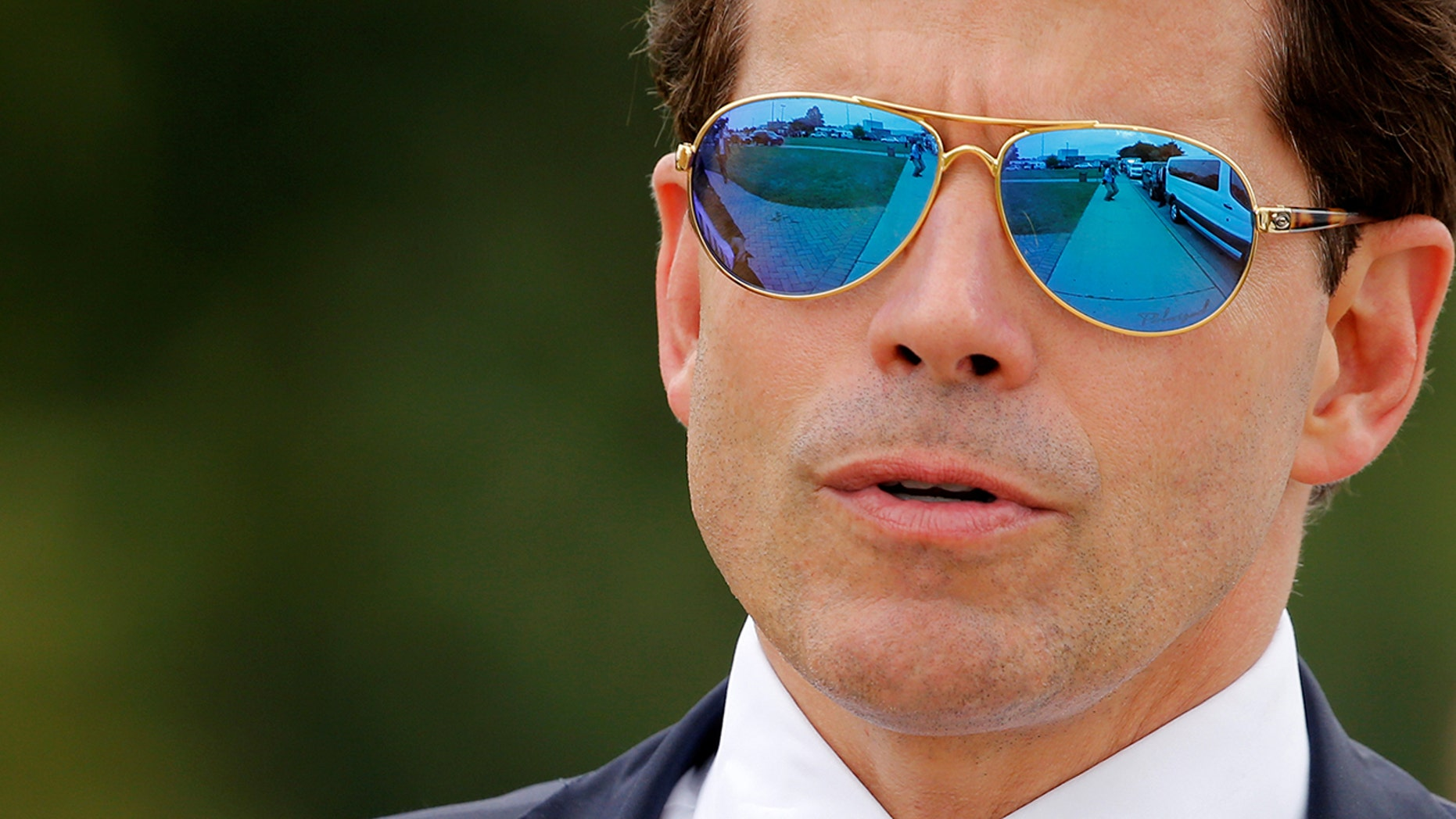 White House Communications Director Anthony Scaramucci accompanies U.S. President Donald Trump for an event about his proposed U.S. government effort against the street gang Mara Salvatrucha, or MS-13, with a gathering of federal, state and local law enforcement officials in Brentwood, New York, U.S. July 28, 2017.