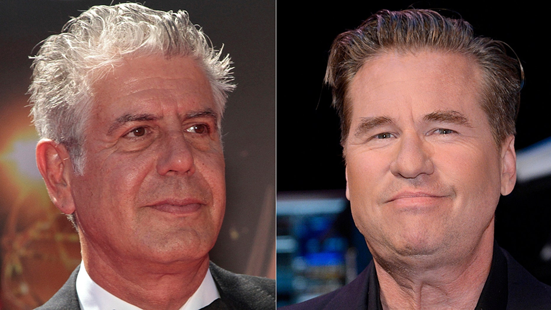 "Actor Val Kilmer (right) called celebrity chef's Anthony Bourdain's death ""so selfish."""
