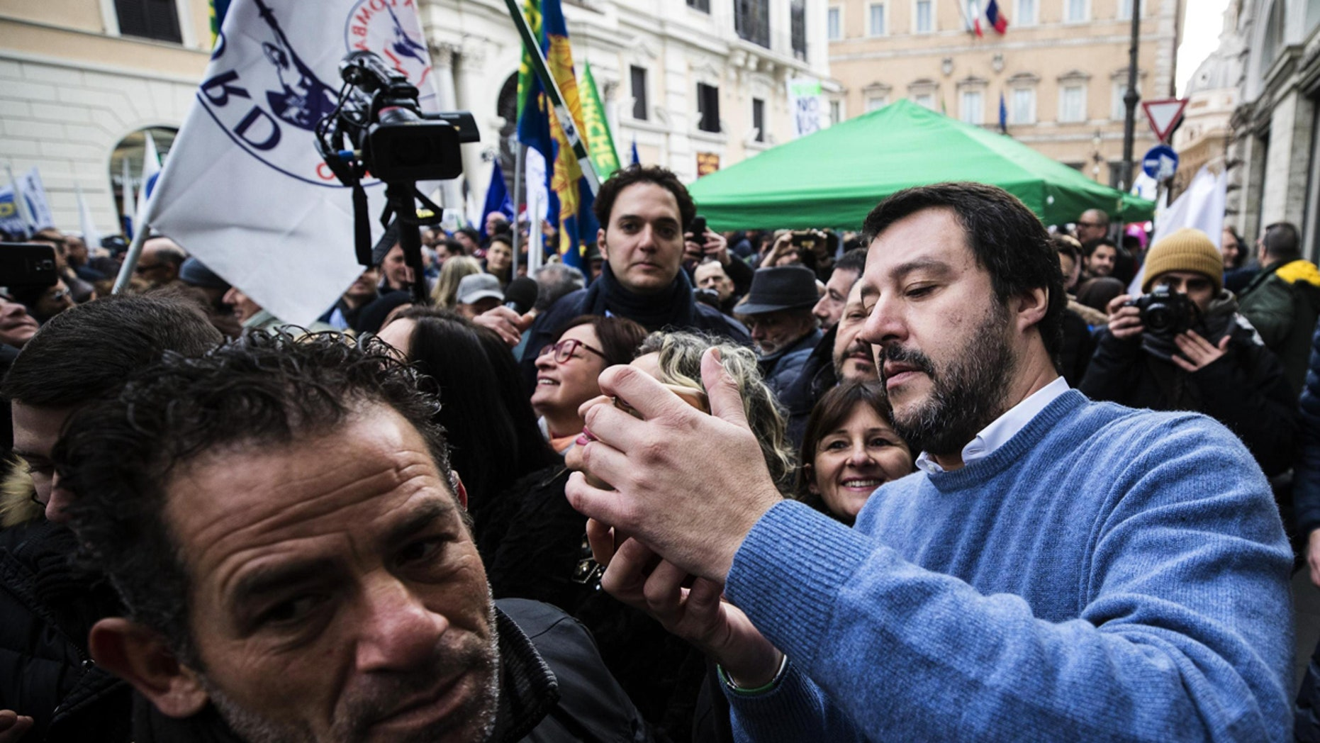 Northern League party leader Matteo Salvini attends demonstration opposing easier Italian citizenship for foreigners in Rome, Italy, Dec. 10, 2017.