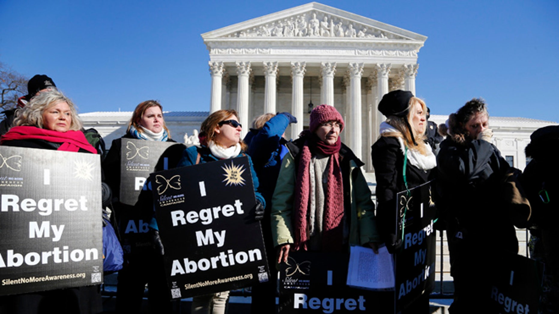 FILE: January 22, 2014: Anti-abortion demonstrators in front of the Supreme Court in Washington, D.C.