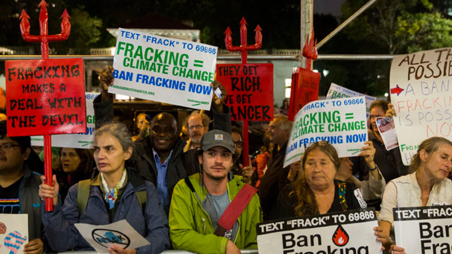 Oct. 14, 2014: Protesters demonstrate against fracking in New York.