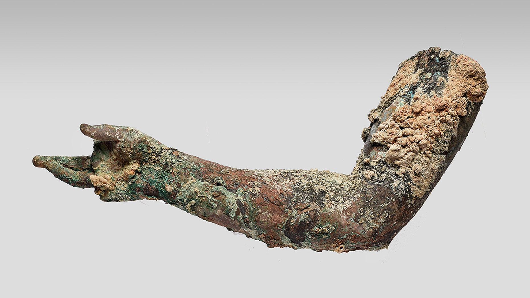 A bronze right arm, preserved from the shoulder to the fingers, was recently recovered from the Antikythera shipwreck.
